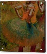 Dancers Wearing Green Skirts Acrylic Print by Edgar Degas