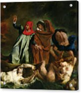 Dante And Virgil In The Underworld Acrylic Print by Ferdinand Victor Eugene Delacroix