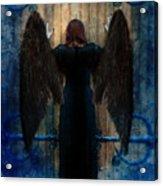 Dark Angel At Church Doors Acrylic Print by Jill Battaglia