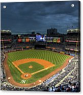 Dark Clouds Over Yankee Stadium  Acrylic Print by Shawn Everhart