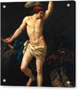 David Victorious Acrylic Print by Jean Jacques II Lagrenee