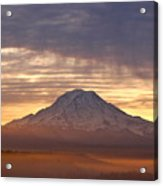 Dawn Mist About Mount Rainier Acrylic Print by Sean Griffin