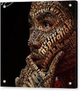 Derrick Rose Typeface Portrait Acrylic Print by Dominique Capers