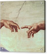 Detail From The Creation Of Adam Acrylic Print by Michelangelo