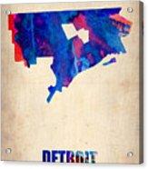Detroit Watercolor Map Acrylic Print by Naxart Studio