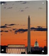 Digital Liquid -  Monuments At Sunrise Acrylic Print by Metro DC Photography