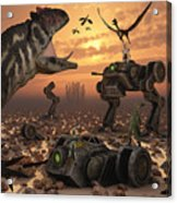 Dinosaurs And Robots Fight A War Acrylic Print by Mark Stevenson
