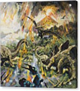 Dinosaurs And Volcanoes Acrylic Print by English School