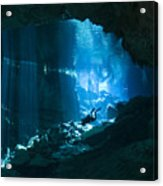 Diver Enters The Cavern System N Acrylic Print by Karen Doody