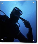 Diver Holding Gun To Head Underwater Acrylic Print by Sami Sarkis