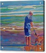 Dog Beach Play Acrylic Print by Thomas Bertram POOLE