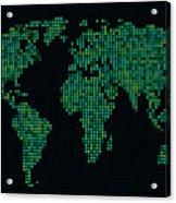 Dot Map Of The World - Green Acrylic Print by Michael Tompsett