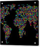 Dot Map Of The World - Multi Colours Acrylic Print by Michael Tompsett