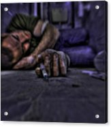 Drug Addict Shooting Up Acrylic Print by Guy Viner