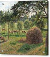 Dusk At Eragny Acrylic Print by Camille Pissarro