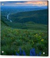 Dusk Over The Yakima Valley Acrylic Print by Mike  Dawson