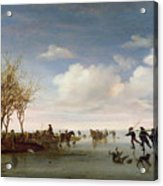 Dutch Landscape With Skaters Acrylic Print by Salomon van Ruysdael