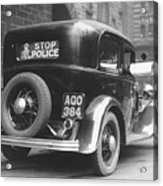 Early Police Car Acrylic Print by Topical Press Agency