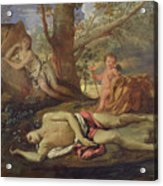 Echo And Narcissus  Acrylic Print by Nicolas Poussin