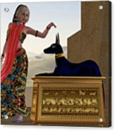 Egyptian Woman And Anubis Statue Acrylic Print by Corey Ford