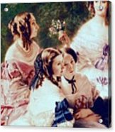 Empress Eugenie And Her Ladies In Waiting Acrylic Print by Franz Xaver Winterhalter