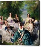 Empress Eugenie Surrounded By Her Ladies In Waiting Acrylic Print by Franz Xaver Winterhalter