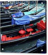 Empty Gondolas Floating On Narrow Canal Acrylic Print by Sami Sarkis