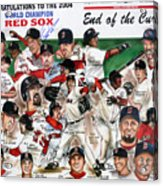 End Of The Curse Red Sox Newspaper Poster Acrylic Print by Dave Olsen