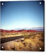 Entering The Valley Of Fire Acrylic Print by Lori Andrews