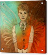 Ethan Little Angel Of Strength And Confidence Acrylic Print by The Art With A Heart By Charlotte Phillips