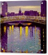 Evening - Ha' Penny Bridge- Dublin Acrylic Print by John  Nolan