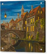 Evening In Brugge Acrylic Print by Charlotte Blanchard