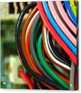 Extreme Closeup Of Motherboard And Cables Acrylic Print by Yali Shi