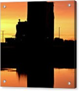 Eyebrow Gain Elevator Reflected Off Water After Sunset Acrylic Print by Mark Duffy