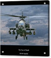 Face Of Death Ah-64 Apache Helicopter Acrylic Print by Randy Steele
