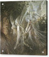 Fairies Looking Through A Gothic Arch Acrylic Print by John Anster Fitzgerald