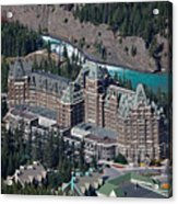 Fairmont Banff Springs Hotel With The Bow River Falls Banff Alberta Canada Acrylic Print by George Oze