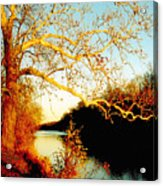 Fall At The Raritan River In New Jersey Acrylic Print by Christine Till