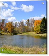 Fall Pond Acrylic Print by Penny Neimiller
