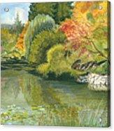 Fall Reflections Butchart Gardens Acrylic Print by Vidyut Singhal