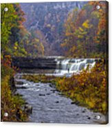 Falls Fishing Acrylic Print by Mark Papke