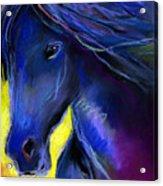 Fantasy Friesian Horse Painting Print Acrylic Print by Svetlana Novikova