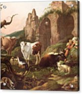 Farm Animals In A Landscape Acrylic Print by Johann Heinrich Roos
