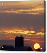 Farm At Sunset Acrylic Print by Steve Somerville