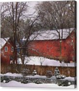 Farm - Barn - Winter In The Country  Acrylic Print by Mike Savad