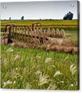 Farm Work Wiind And Rain Acrylic Print by Douglas Barnett