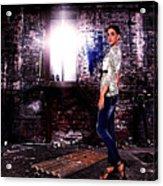 Fashion Model In Jeans  Acrylic Print by Milan Karadzic