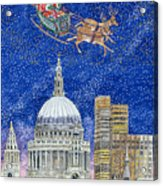 Father Christmas Flying Over London Acrylic Print by Catherine Bradbury