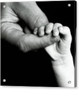 Father Holding Hand Of Baby Acrylic Print by Sami Sarkis
