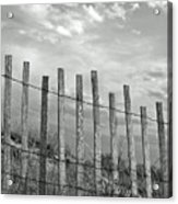 Fence At Jones Beach State Park. New York Acrylic Print by Gary Koutsoubis